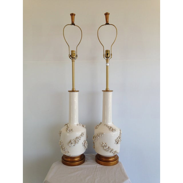 Mid-Century White Porcelain Marbro Lamp - Pair - Image 2 of 8