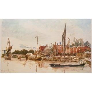 Rare 1959 Johan Jongkind, Dutch Harbor Hungarian Lithograph For Sale