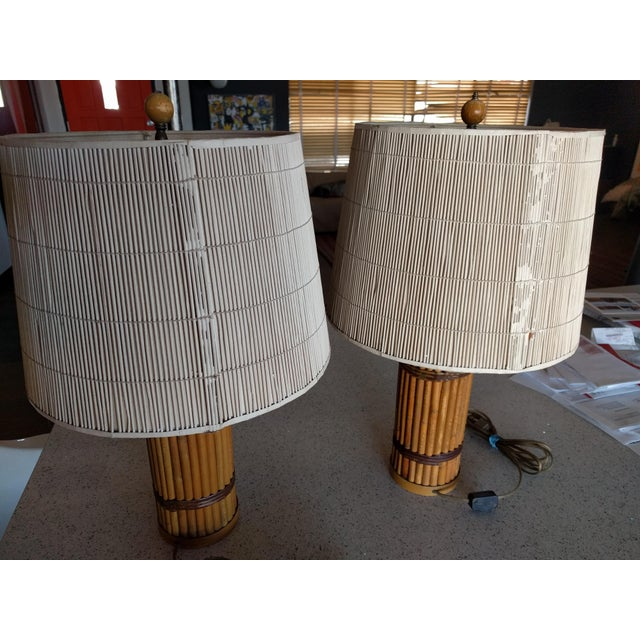 Vintage 1940's Rattan Lamps - A Pair For Sale - Image 5 of 10