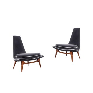 Vintage High Back Lounge Chairs by Karpen - a Pair For Sale