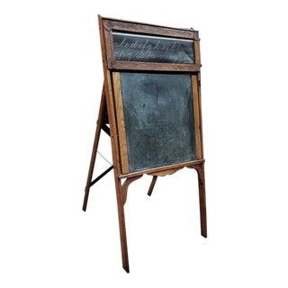 American Victorian Oak Framed Black / Chalk Board C.1900 For Sale