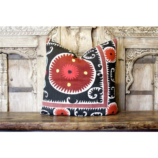 Pair of Rajah Suzani Square Pillow For Sale - Image 4 of 6