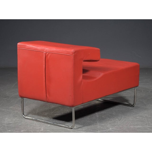 Mid-Century Modern Red Chaise Longue Chair For Sale - Image 3 of 5