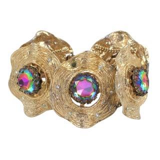 Gilt Bracelet With Large Aurora Borealis Stones For Sale