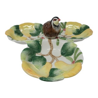 Vintage Fitz Floyd Partridge and Pear Server Dish For Sale