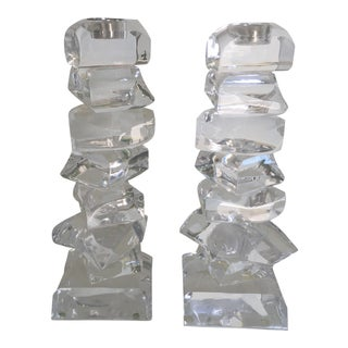 Mid Century Lucite Candle Holders A Pair