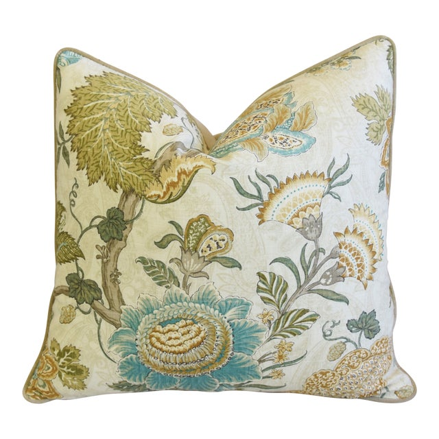 """French Jacobean Floral & Velvet Feather/Down Pillow 24"""" Square For Sale"""
