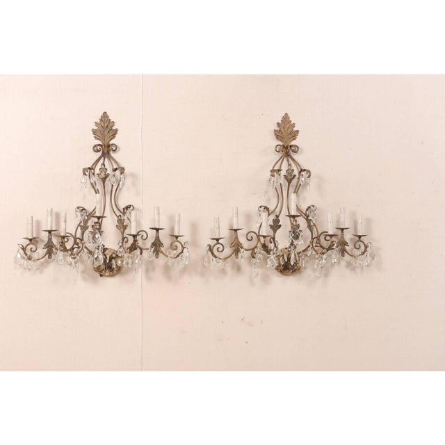 French Pair of Mid-Century Seven-Light Crystal and Iron Sconces With Leaf Crest Tops For Sale - Image 3 of 11