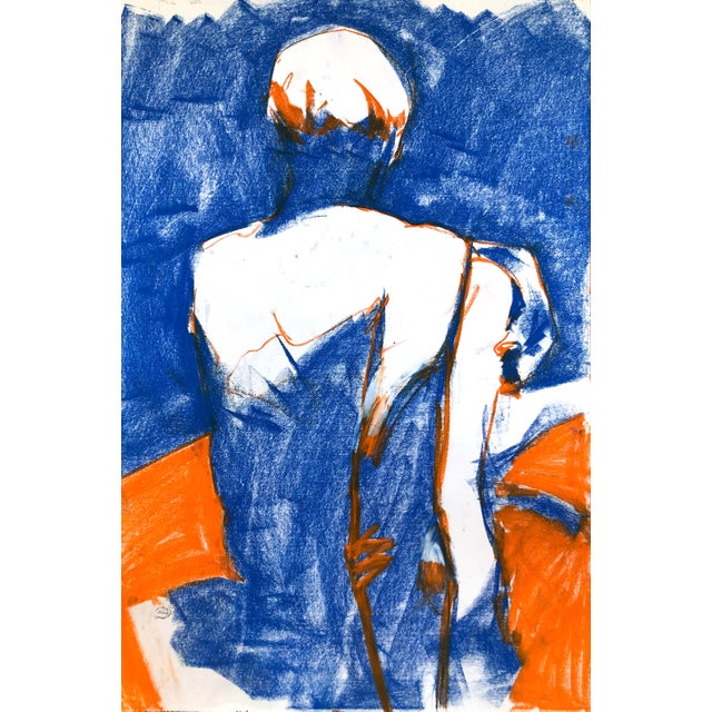 """Contemporary Figure Drawing in Blue and Orange Pastel, """"Seated Figure in Blue and Orange"""" by Artist David O. Smith For Sale"""