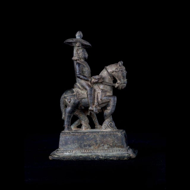 Asian Bronze Equestrian Sculpture For Sale - Image 3 of 5