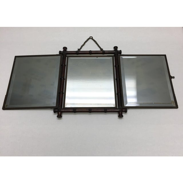 Antique tri-fold or three part shaving mirror. Made by P. Wiederer & Bro., New York patented 1887. Measures 13 inches...