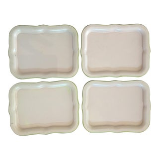 Pale Pink & Gold Trimmed Tin Trays - Set of 4