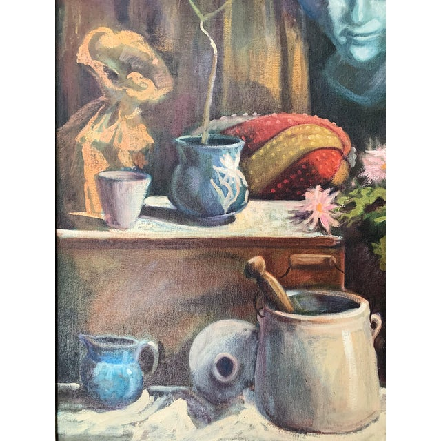 1960s Vintage Sharon Johnson Oil on Canvas Still Life Painting For Sale - Image 4 of 7