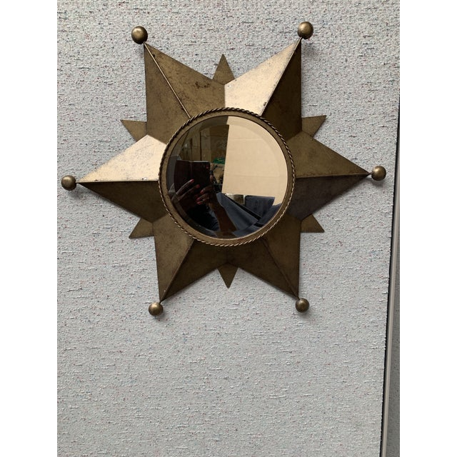 Gold Contemporary Gold-Tone Metal Star Shaped Accent Mirror For Sale - Image 8 of 9