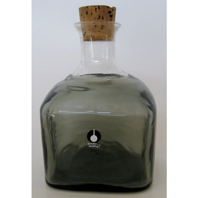 Vintage Swedish Glass Bottle For Sale - Image 4 of 4