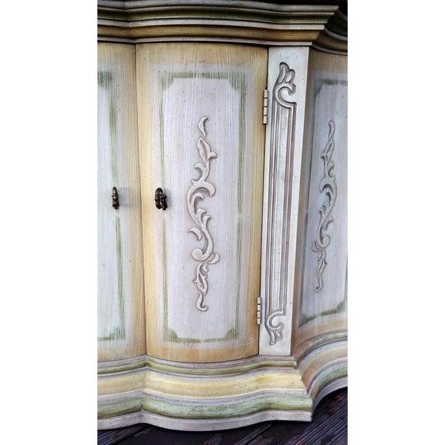 Wood 1970s Mediterranean Drexel Heritage Et Cetera 2 Door Painted Console Cabinet For Sale - Image 7 of 13