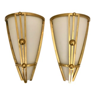 Pair Art Deco French Sconces by Vianne For Sale