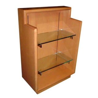 Wooden Display Case With Glass Shelves For Sale