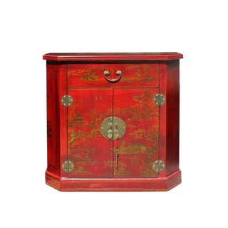 Chinese Distressed Red Veneer Print Graphic Side Table Cabinet