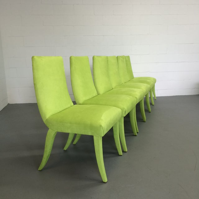Mid Century Lime Dining Chairs - Set of 6 - Image 2 of 9