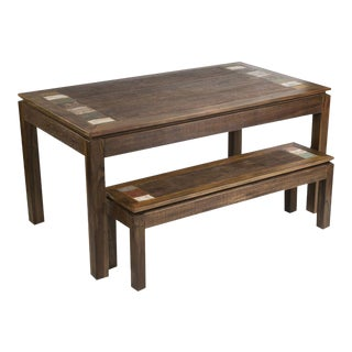 3-Piece Reclaimed Peroba Rosa Wood Dining Set