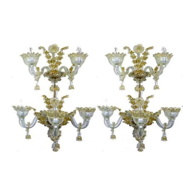 A pair of Venetian Italian gold infused Murano glass sconces, three pair available Attributed to the Salviati glass works...