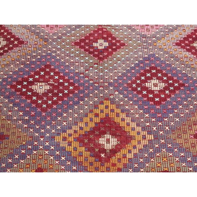 "Vintage Turkish Handmade Kilim Rug-6'1'x9'7"" For Sale - Image 6 of 13"