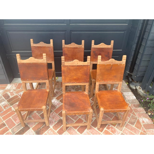 Spanish Colonial Style Rustic Leather Dining Room Chairs Set of 6 For Sale - Image 9 of 9