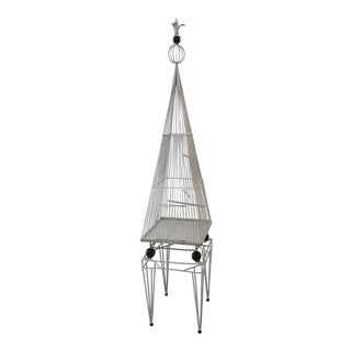 Vintage Mid-Century Modern White Wrought Iron Bird Cage by Frederick Weinberg For Sale