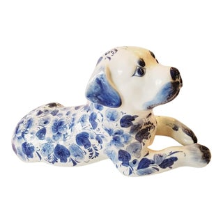 Blue and White Porcelain Dog Sculpture For Sale
