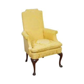 Southwood Mahogany Frame Queen Anne Style Wing Chair For Sale