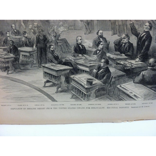 "American Mid 19th Century Antique ""Expulsion of Senator Bright From the United States Senate for Disloyalty"" Pictorial Battles of the Civil War Print For Sale - Image 3 of 4"