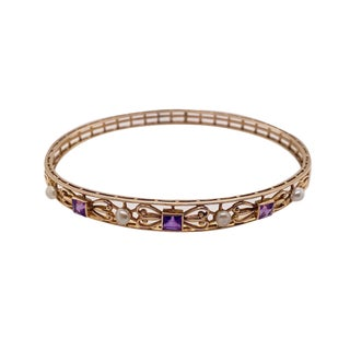 Art Nouveau 14k Gold Amethyst Cultured Seed Pearl Bangle Bracelet For Sale