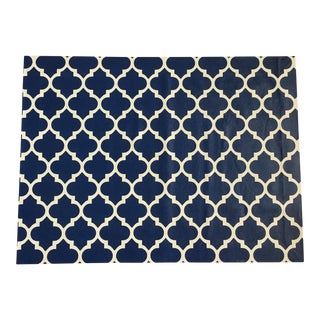 Blue & White Trellis Canvas Rug - 3' X 4' For Sale