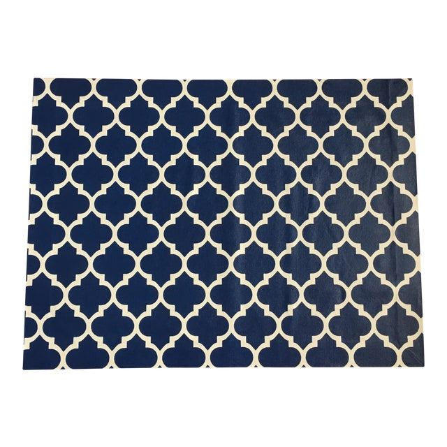 Blue & White Trellis Canvas Rug - 3' X 4' - Image 1 of 3