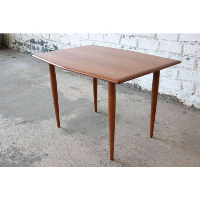 Swedish Modern Teak and Brass Side Table by Dux For Sale In South Bend - Image 6 of 10