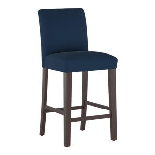 Bar stool in Velvet Ink For Sale