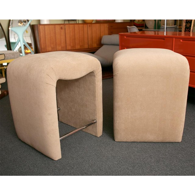 Luxurious Modern Faux Ostrich Upholstered Stools 1970s - Image 6 of 13