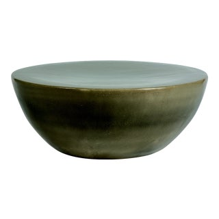 Bowness Handmade Glazed Ceramic Outdoor Coffee Table, Taupe For Sale