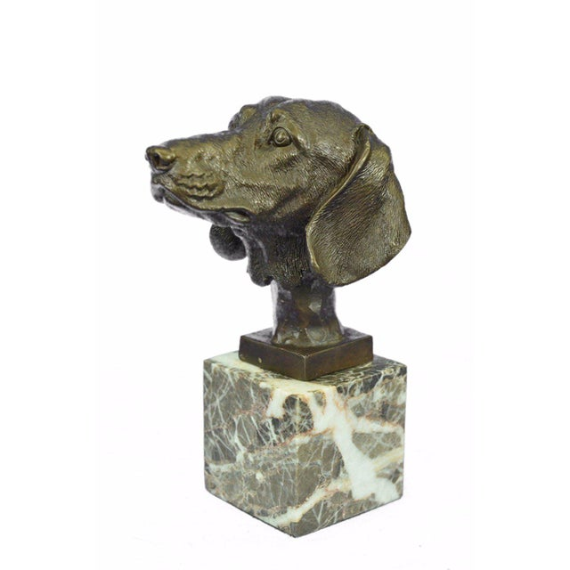 Dachshund Bust Bronze Sculpture For Sale - Image 5 of 10