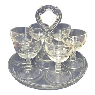 1900s Vintage Eapg Stemmed Cordial Shot Glasses & Handled Server- Set of 7 For Sale