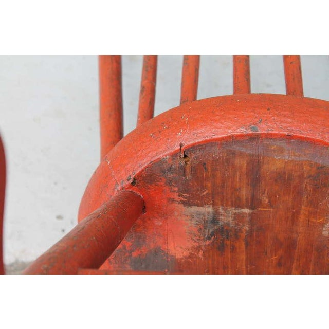 Primitive 19th Century Original Salmon Painted Windsor Rocking Chair For Sale - Image 3 of 8