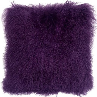 Mongolian Sheepskin Purple 18x18 Pillow For Sale