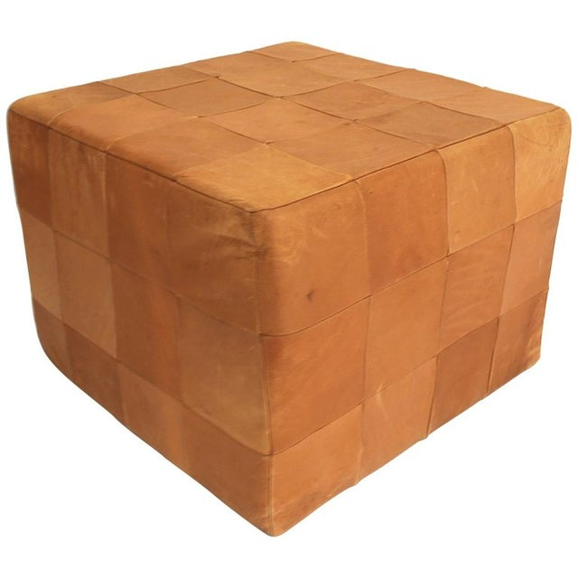 Animal Skin De Sede Patchwork Cube or Ottoman in Beautiful Patinated Cognac Leather For Sale - Image 7 of 7