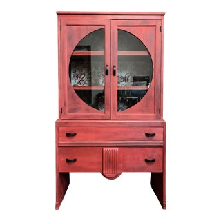 Shabby Chic Deco-Inspired China Display Cabinet With Drawers & Designer Fabric Lining For Sale