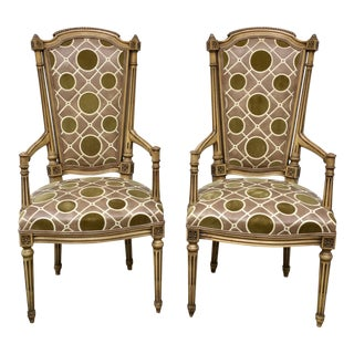 Vintage French Hollywood Regency Chairs - a Pair