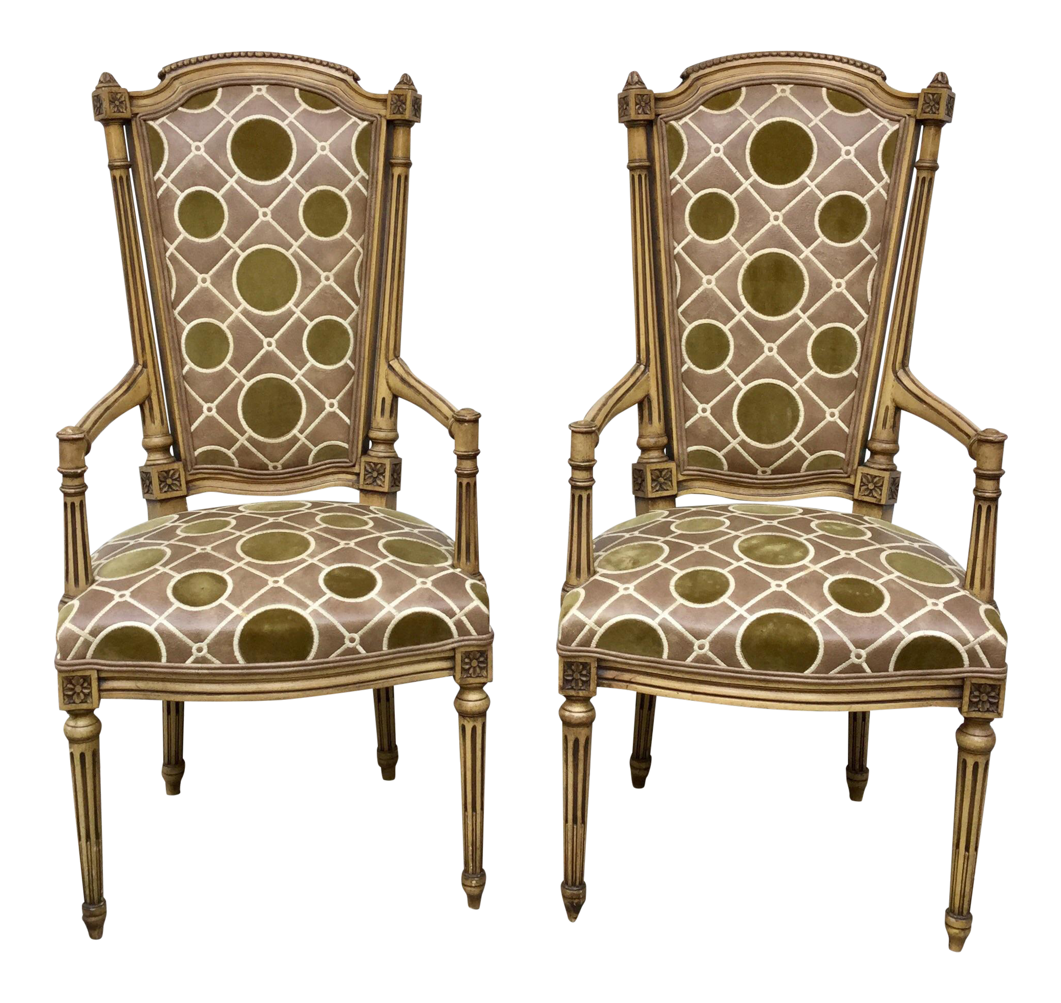Vintage French Hollywood Regency Chairs   A Pair   Image 1 Of 3