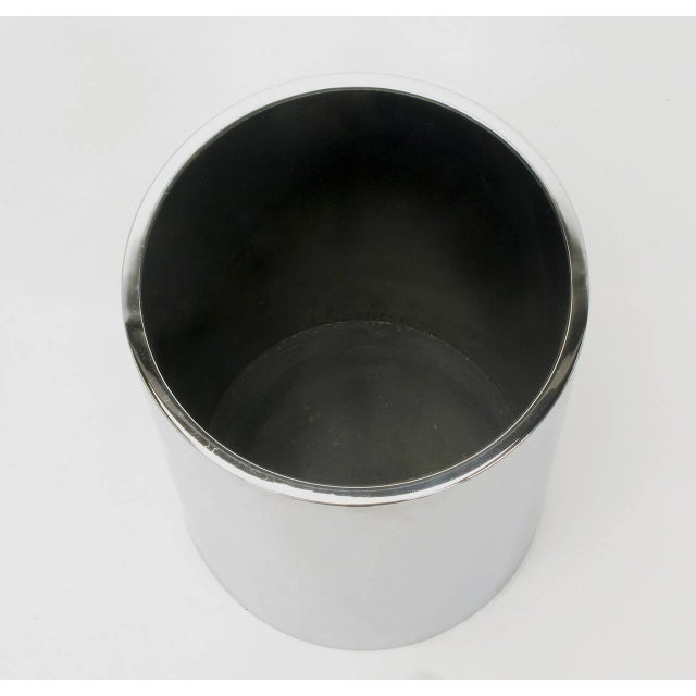 Industrial Dado Industrial Design S.P.A Italian Chromed Heavy Steel Cylinder Vase For Sale - Image 3 of 5