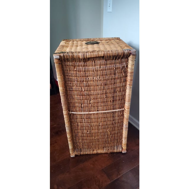 Vintage Wicker Rattan Trunk For Sale - Image 11 of 13