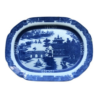 Large Antique Blue and White Transfer Ware Platter For Sale